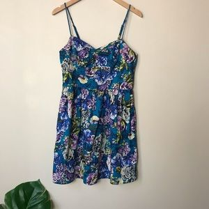 Xhilaration | Floral Fit and Flare Dress Large
